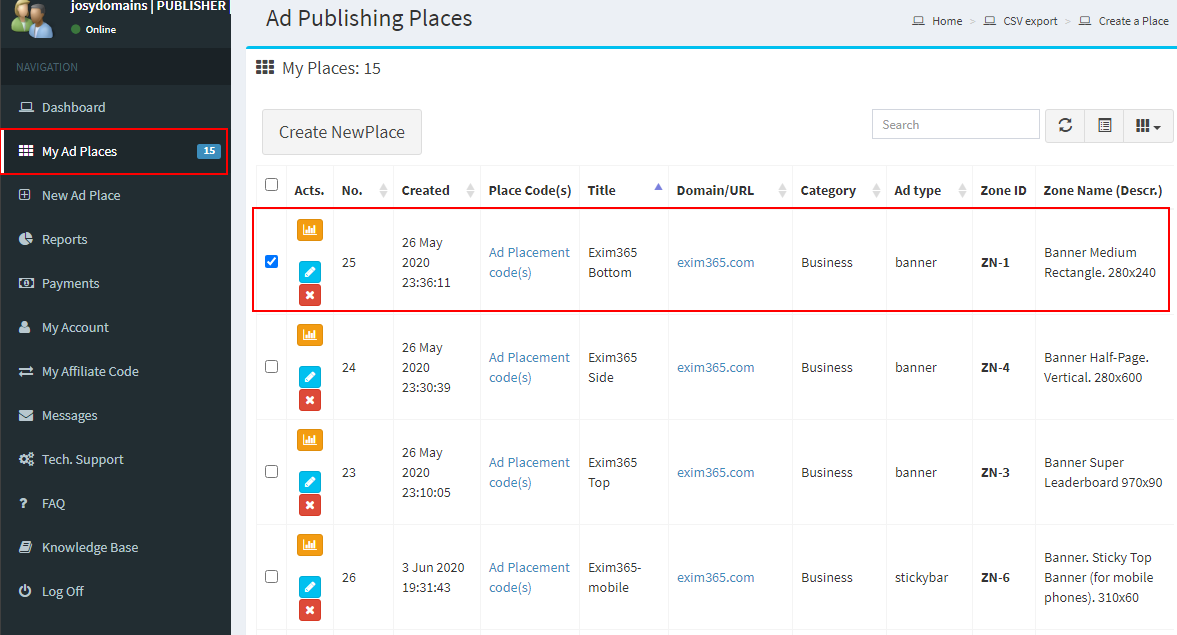 How to generate Ad code for insertion into Publishers website pages