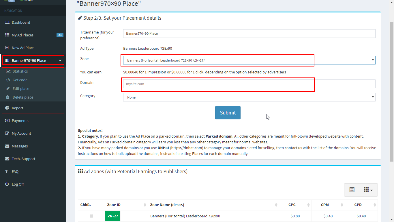 How to create new Ad publishing place. Step 2